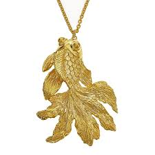 koi fish on 18 kt gold plated necklace