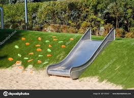 Modern Playground Design Modern Playground With A Metal Slide Inscribed In The