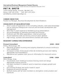 Business Management Resume Objective International Business Resume Objective Resume Job Examples Images