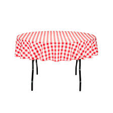 70 in round tablecloth red white checd