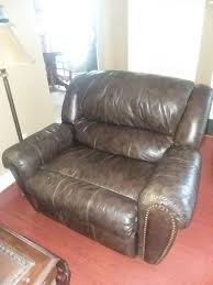 ashley overstuffed genuine leather recliner