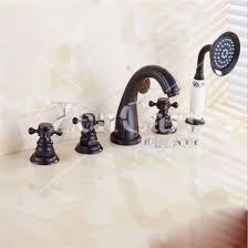 meevogo three handle bathtub faucets black antique brass bathtub faucet sets deck mount with handshower tub