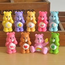 9pcs Lot 5cm Care Bears Rainbow Bear Ornaments Vinyl Toys Doll