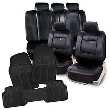 black pu leather full seat cover set black all weather full rubber trimable floor mat 4 piece