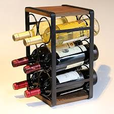 soduku metal wood countertop wine rack 6 bottles no need assembly wantitall