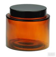 500ml amber glass squat jar with black cap