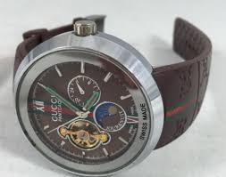 gucci 1142. gucci pantcaon mens wrist watch automatic swiss made brown band model 1142 -