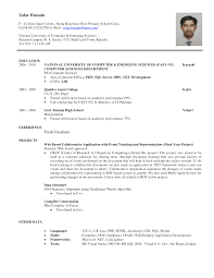 Sample Resume For Computer Science Fresh Graduate Internship College