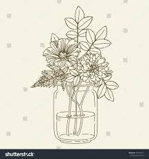Small Picture Hand Drawn Flowers Mason Jar Vector Stock Vector 430186957