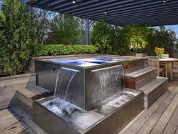 aboveground outdoor rectangular hot tub stainless steel spa with water features e47