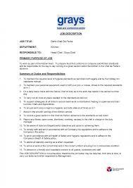 Chef Partie Job Description Cv Template Resume And Duties Jd