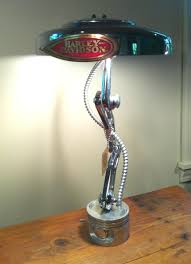 motorcycle table lamps recycled motorcycle parts into a desk lamp crooked creek farms chrome linkage lamp