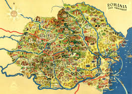 oc colorful map of romania with artistically highlighted tourist