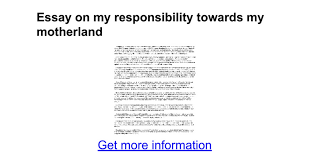 essay on my responsibility towards my motherland google docs