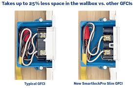 leviton n7599 w 15 amp 125 volt smartlock pro slim non tamper typical gfci under left image smartlockpro gfci under right image