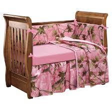 pink camo baby crib bed set 4 pcs