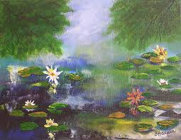 flower painting water lily pond by barbara harper