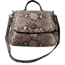 SOLD - Coach Python Leather Satchel Flap Bag. New with Tags. – Coco et Louis