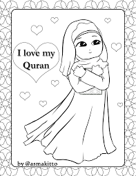 Free Coloring Page For Little Muslim Girl I My Quran Kids