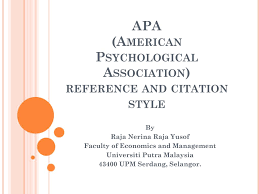 Ppt Apa American Psychological Association Reference And