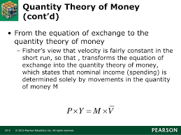 quantity theory of money cont d