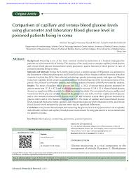 Pdf Comparison Of Capillary And Venous Blood Glucose Levels
