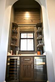 Wine Cellar In Kitchen Floor This Wine Nook Dry Bar Is Designed In A Stained Pecky Cypress To