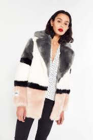 block colour faux fur jacket