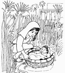 Coloring Pages Of Baby Moses Basket For Baby Moses Coloring Pages