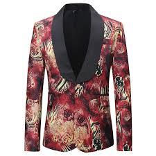 <b>Loldeal</b> Luxury Men Suit Unique <b>Red</b> Pattern One Button Suit Jacket ...