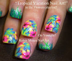 Bright Flower Nail Art Design Tutorial Tropical Flower Nail Art By Robinmoses Pink Green Yellow