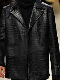 alligator leather black quilted jacket