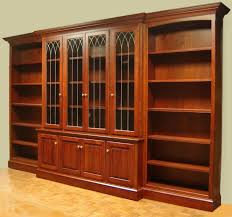 f espresso stained oak bookshelves with 2 glass doors