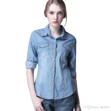 whole women blouses denim shirts long sleeve blouse coats shirt solid color casual outerwear womens leather jackets coats and jackets from deidao