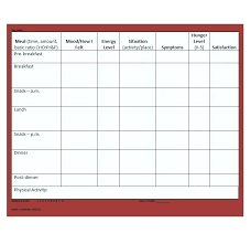 Diary Format Template Diabetic Food Log Template Format Calorie Counter Journal
