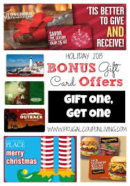 bonus gift card offers 2016 frugal coupon living