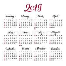 Plain Wall Calendar 2019 Year Stock Vector Colourbox