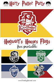 Free Printable Hogwarts House Flags Harry Potter Party Lovely
