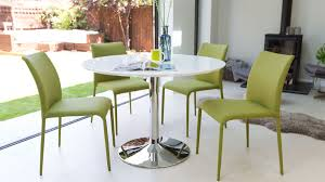 round modern white gloss dining table stylish trumpet pedestal base dining room tables and chairs for