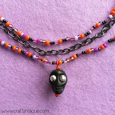multi strand necklace with skull pendant tutorial necklace diy beaded skull necklace tutorial