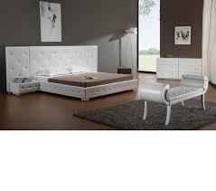 White modern platform bed Chrome Dreamfurniturecom Melody White Modern Leather Platform Bed With Two Nightstands Dream Furniture Dreamfurniturecom Melody White Modern Leather Platform Bed With
