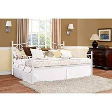 Contemporary White Full Size Metal Daybed, Bedroom Furniture, Living Room, Trundle, Metal Slats, Bedding, Seating, Bundle with Our Expert Guide with ...