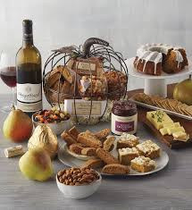 pumpkin shaped gift basket with wine