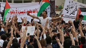 الأردن: آلاف المتظاهرين يتجمعون قرب الحدود مع إسرائيل والضفة الغربية تضامنا  مع الفلسطينيين