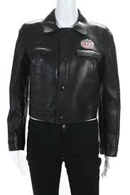 details about dsquared2 womens boom patch motorcycle jacket black leather size 44 italian