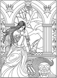 coloring page fantasy woman skulls snake a mysterious woman with a snake and skulls