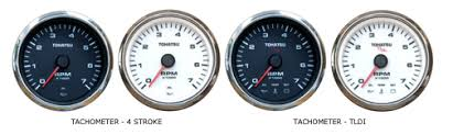 gauges tachometer mfs 4 stroke tldi models these 7 000 rpm tachometers 4 diameter have a chrome bezel are back lit for easy viewing at night dusk