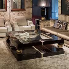 luxury ebony and gold square coffee table