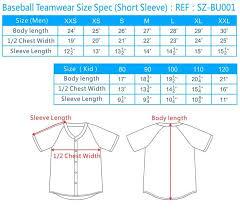 Baseball Jersey Sizing Baseball Jerseys Size Chart