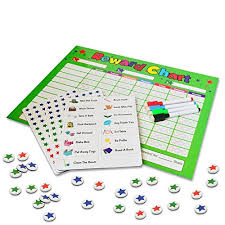 New Behavior Chores Chart For Kids Toddlers Rewards Responsibility Includes 15 Chores 192 Custom Round Stars 4 Dry Erase Markers Full